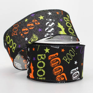 "2.5"" Bats Boo Halloween Wire Edge Ribbon (10 yards) - Package Perfect Bows"