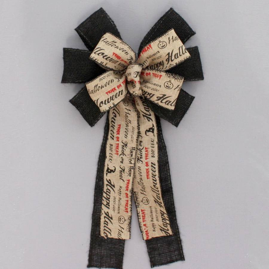 Halloween Script Black Burlap Bow - Package Perfect Bows - 2