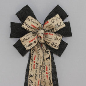 Halloween Script Black Burlap Bow - Package Perfect Bows