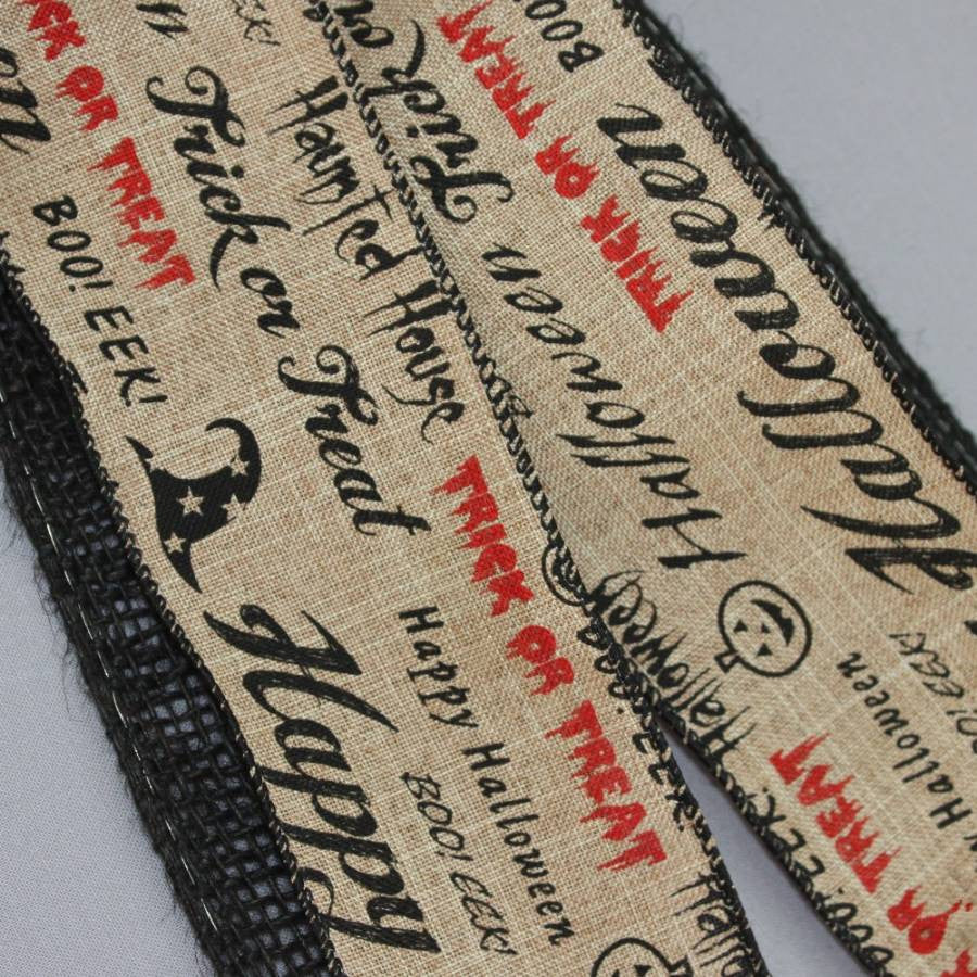 Halloween Script Black Burlap Bow - Package Perfect Bows - 3