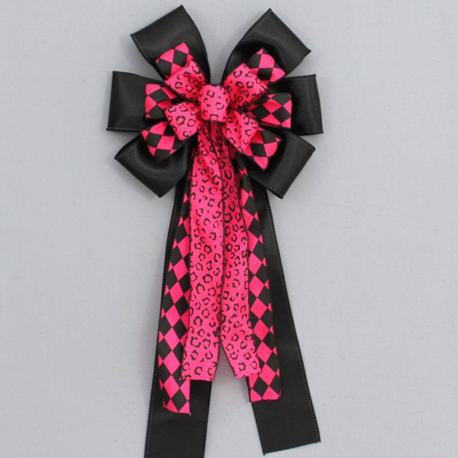 Hot Pink Black Leopard Harlequin Bow - Package Perfect Bows - 2