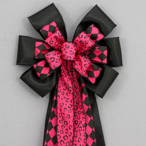 Hot Pink Black Leopard Harlequin Bow - Package Perfect Bows