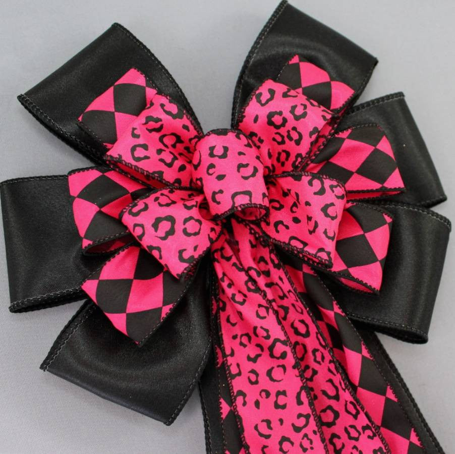 Hot Pink Black Leopard Harlequin Bow - Package Perfect Bows - 3