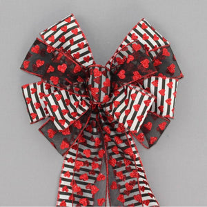 Contemporary Sparkle Hearts Valentine's Day Bow - Package Perfect Bows
