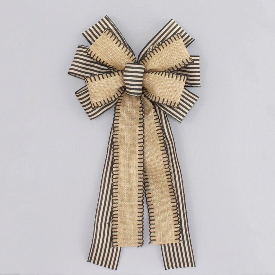 Burlap Black Natural Stripe Wreath Bow