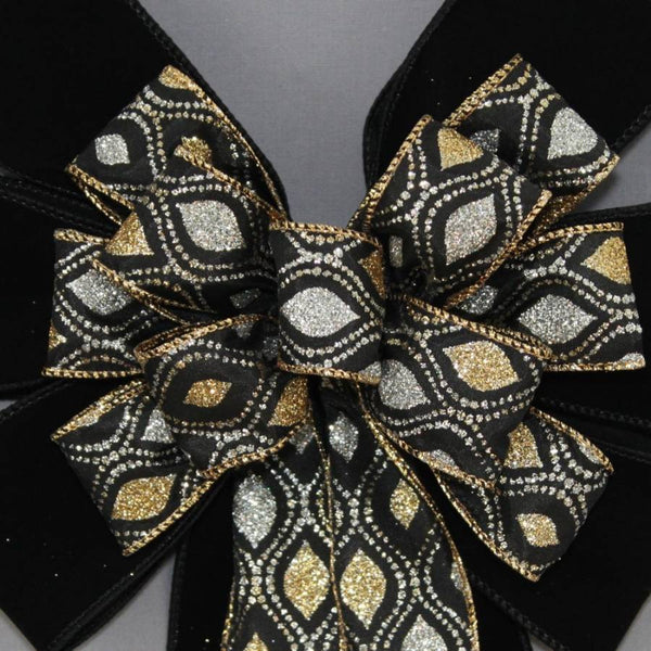 Gold Silver Marquis Sparkle Black Velvet Christmas Bow - Package Perfect Bows - 1