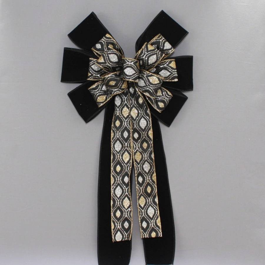 Gold Silver Marquis Sparkle Black Velvet Christmas Bow - Package Perfect Bows - 3
