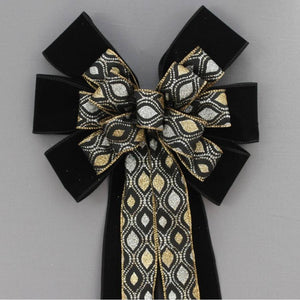 Gold Silver Marquis Sparkle Black Velvet Christmas Bow - Package Perfect Bows
