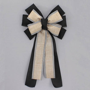 Black Natural Rustic Gingham Wreath Bow