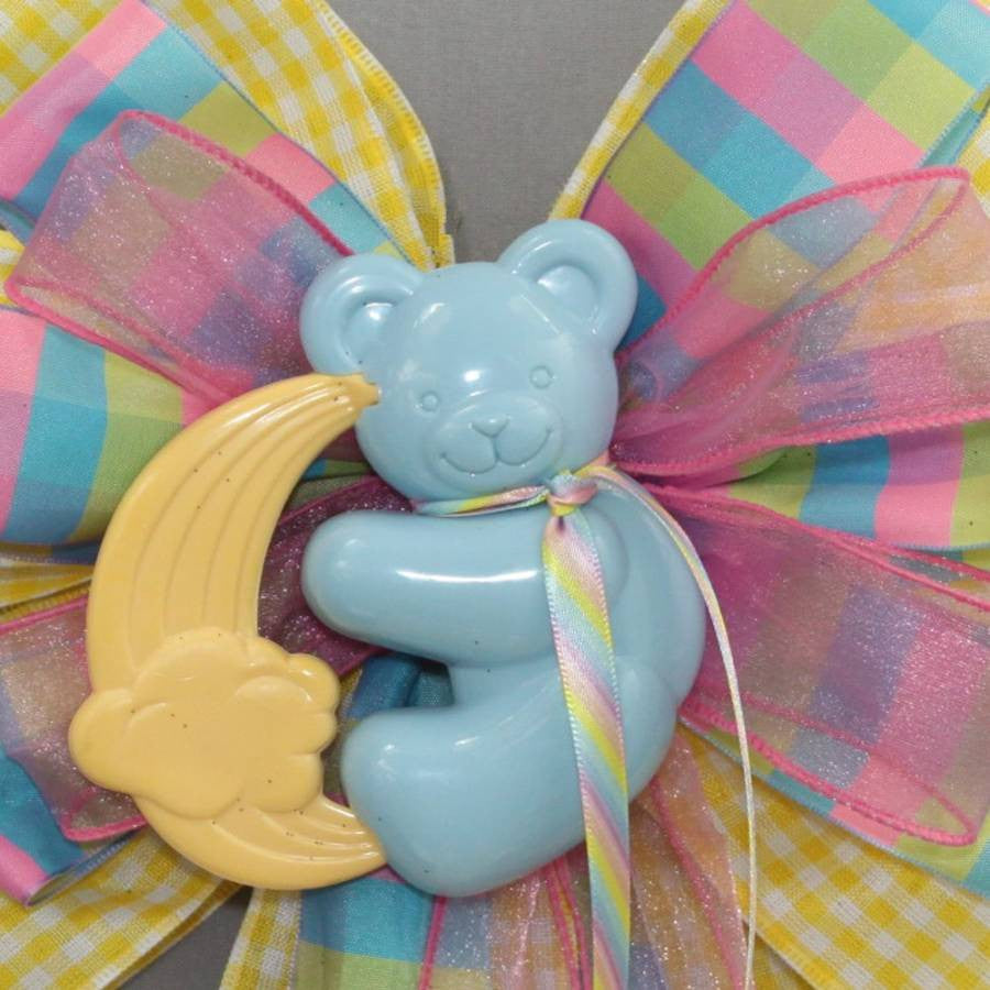 Blue Bear Yellow Gingham Baby Shower Bow - Package Perfect Bows