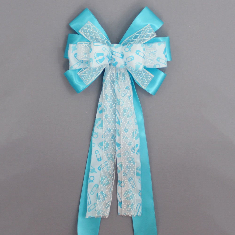 Blue Baby Feet Baby Shower Bow - Package Perfect Bows - 2