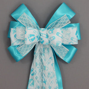 Blue Baby Feet Baby Shower Bow - Package Perfect Bows