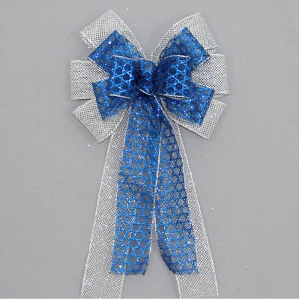 Star of David Silver Mesh Hanukkah Bow - Package Perfect Bows - 1