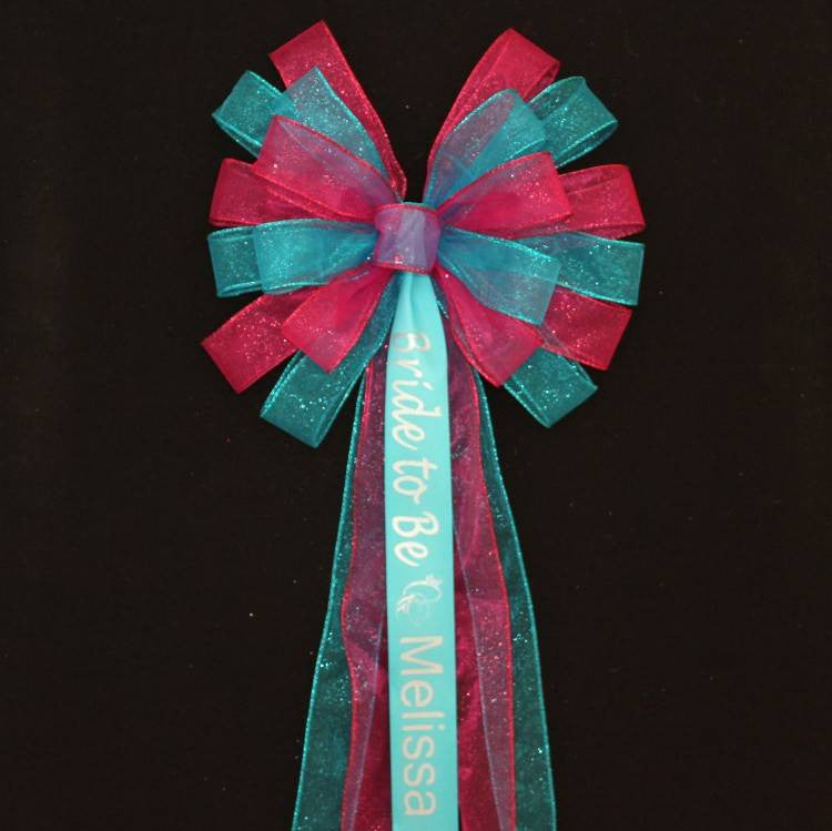 Turquoise and Fuchsia Personalized Bridal Shower Bow