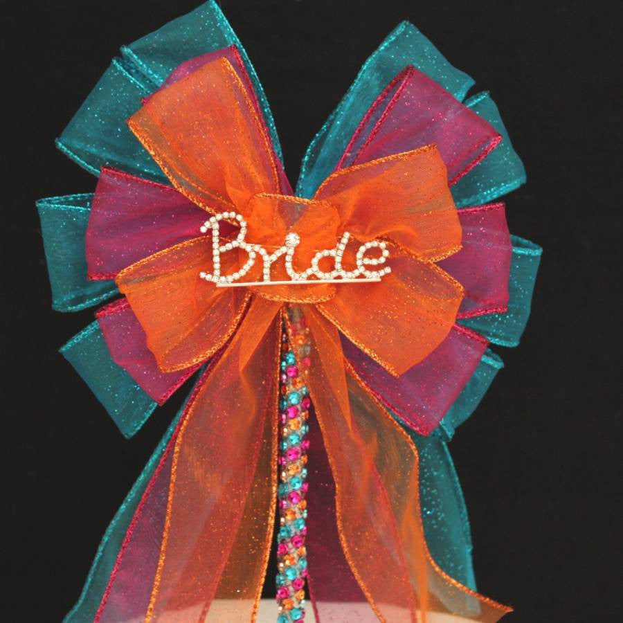 Bride Bright Rhinestone Bow Bridal Shower Cake Topper - Package Perfect Bows - 2