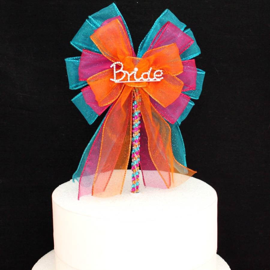 Bride Bright Rhinestone Bow Bridal Shower Cake Topper - Package Perfect Bows - 3