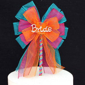 Bride Bright Rhinestone Bow Bridal Shower Cake Topper - Package Perfect Bows