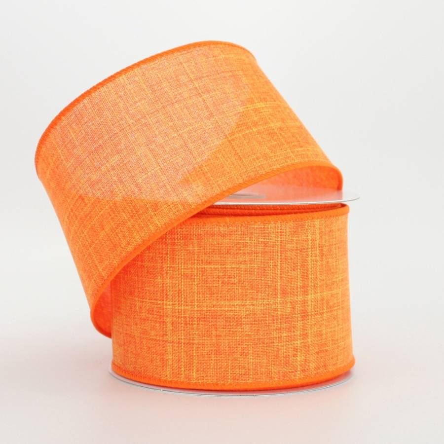 "2.5"" Orange Linen Wire Edge Ribbon (10 yards)"