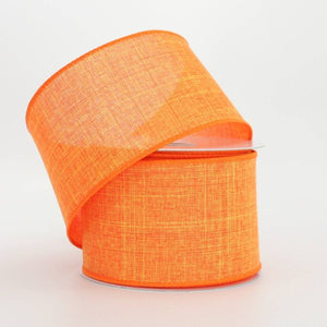 "2.5"" Orange Linen Wire Edge Ribbon (10 yards) - Package Perfect Bows"