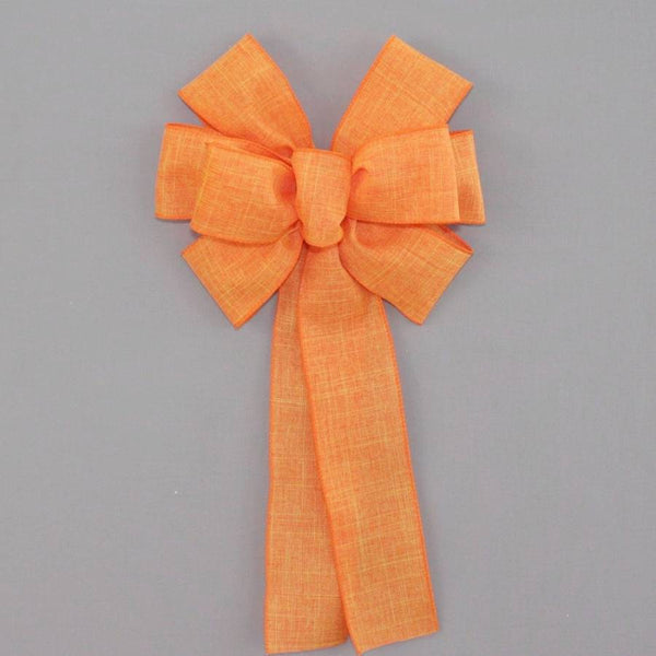 Orange Rustic Linen Wreath Bow