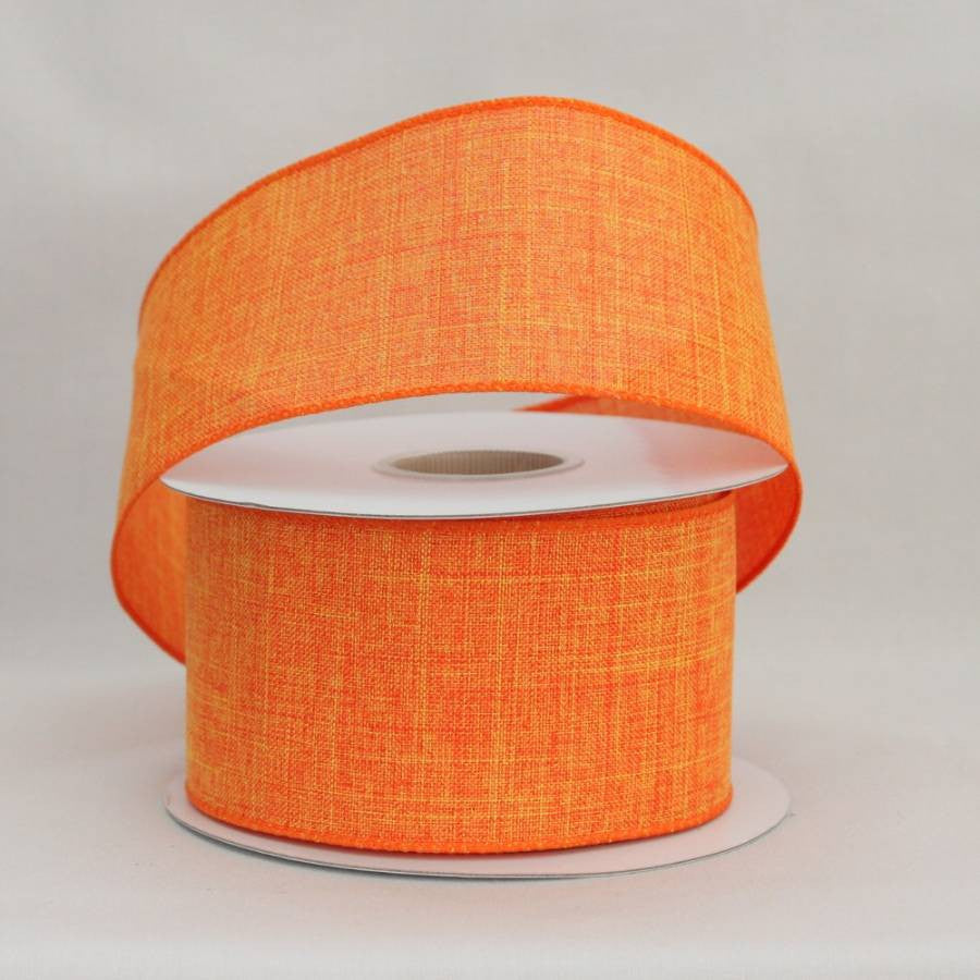 "2.5"" Orange Linen Wire Edge Ribbon (10 yards) - Package Perfect Bows - 1"