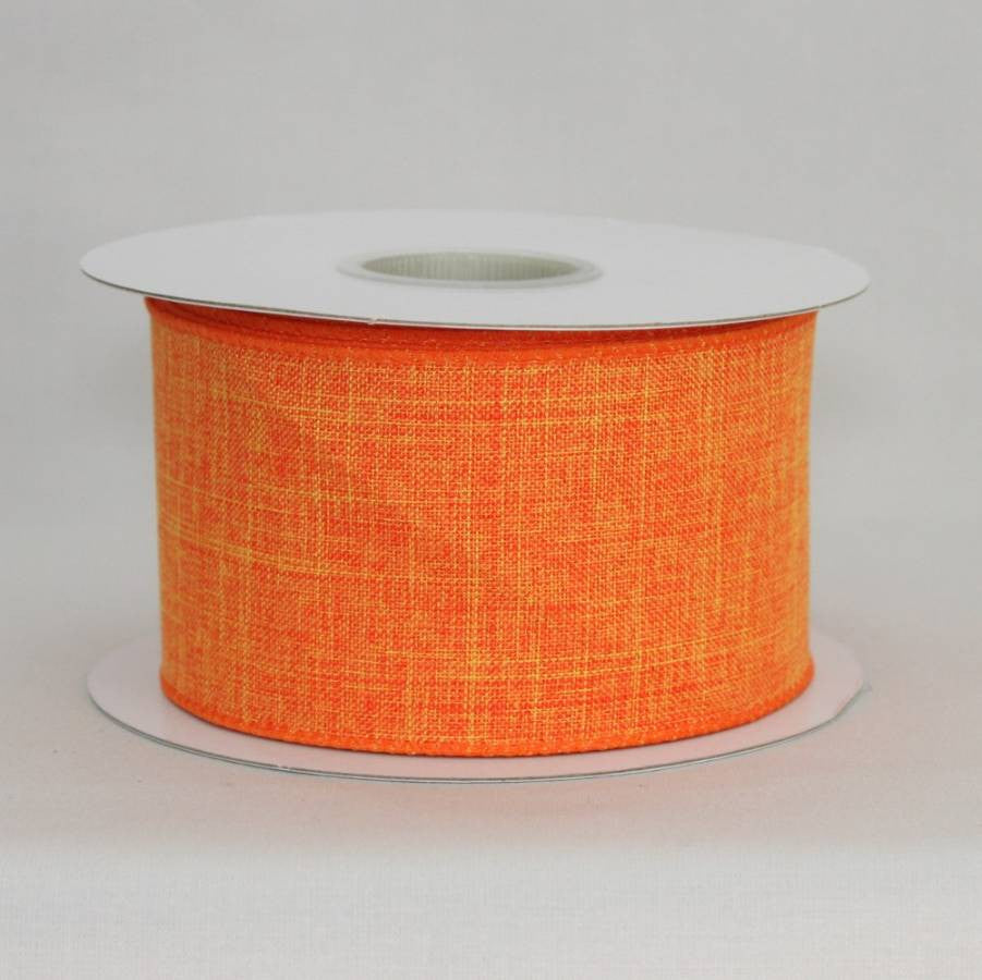 "2.5"" Orange Linen Wire Edge Ribbon (10 yards) - Package Perfect Bows - 2"