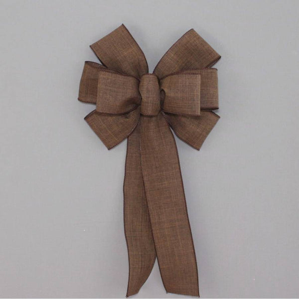 Brown Rustic Linen Wreath Bow