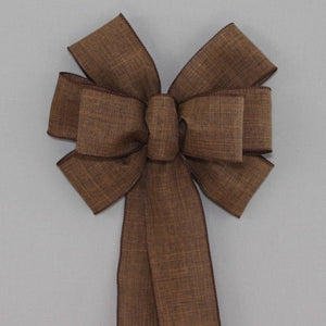 Brown Rustic Linen Wreath Bow - Package Perfect Bows