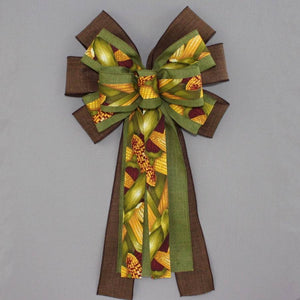 Fall Corn Stalk Wreath Bow - Package Perfect Bows