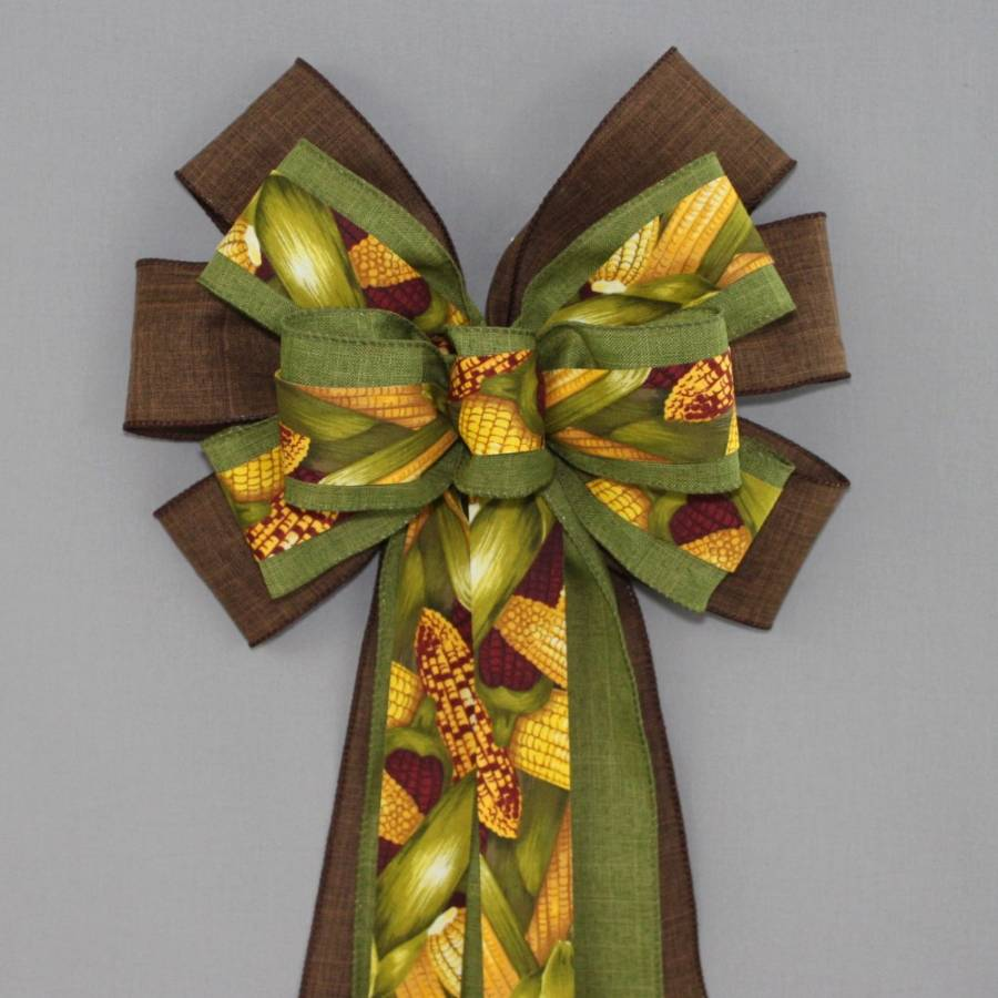 Fall Corn Stalk Wreath Bow