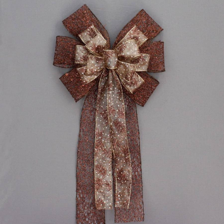 Brown Metallic Mesh Pine Christmas Fall Bow - Package Perfect Bows - 2