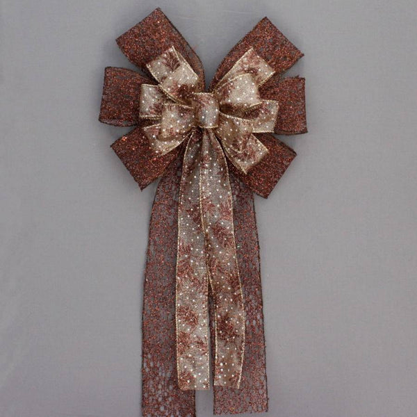 Brown Metallic Mesh Pine Christmas Fall Bow - Package Perfect Bows - 1