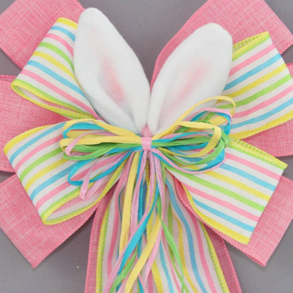 Bunny Ears Pink Easter Wreath Bow