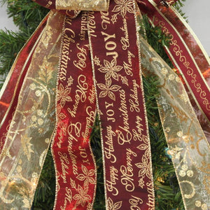 Burgundy Gold Script Tree Topper Bow - Package Perfect Bows