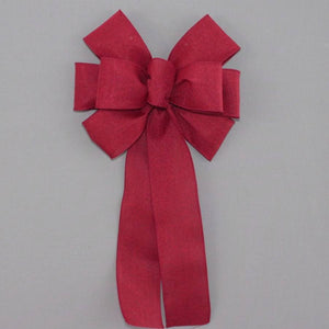 Burgundy Rustic Linen Wreath Bow - Package Perfect Bows