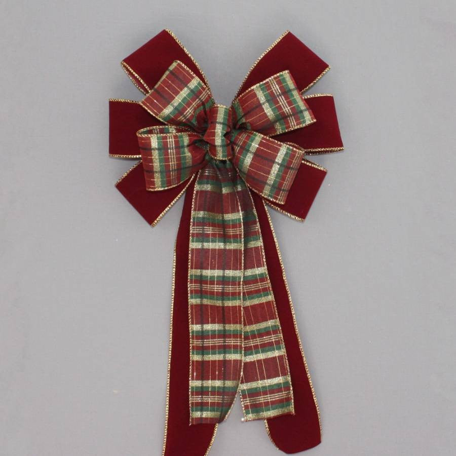 Burgundy Velvet Green Gold Plaid Bow
