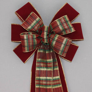 Burgundy Velvet Green Gold Plaid Bow - Package Perfect Bows