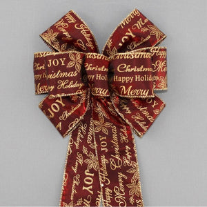 Burgundy Script Christmas Wreath Bow - Package Perfect Bows