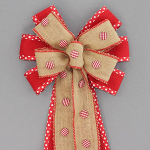 Gingham Button Burlap Christmas Wreath Bow - Package Perfect Bows