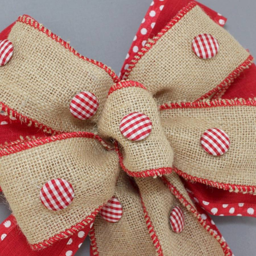 gingham button burlap christmas wreath bow package perfect bows - Burlap Christmas