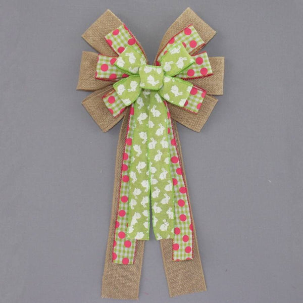 Green Easter Bunny Burlap Wreath Bow