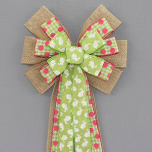 Green Easter Bunny Burlap Wreath Bow - Package Perfect Bows