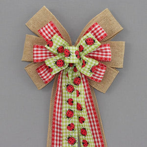 Ladybug Gingham Burlap Wreath Bow - Package Perfect Bows