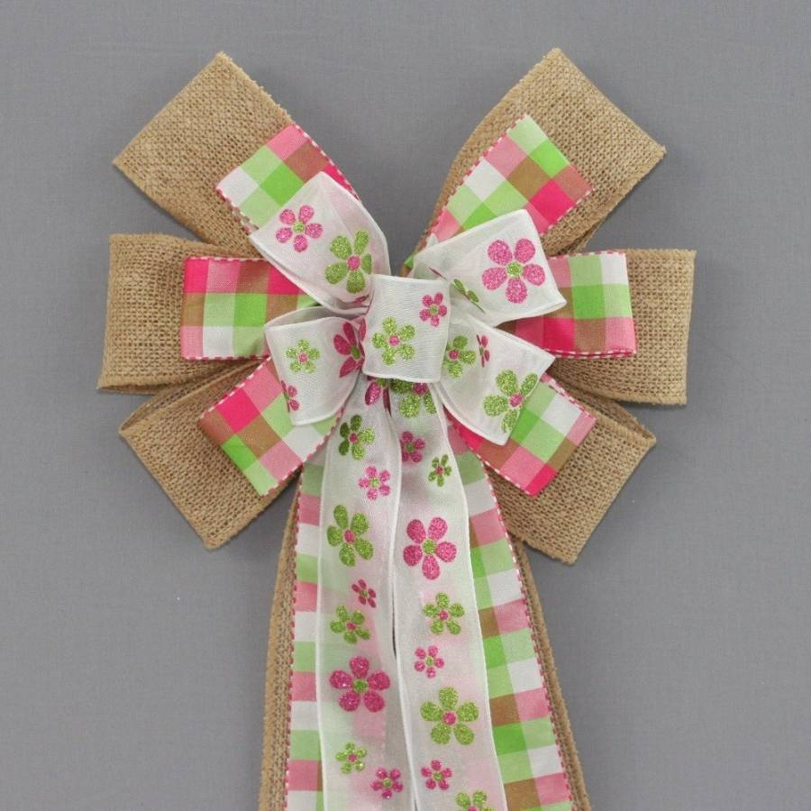 Pink Green Floral Plaid Burlap Easter Wreath Bow