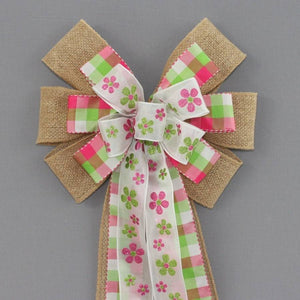 Pink Green Floral Plaid Burlap Easter Wreath Bow - Package Perfect Bows