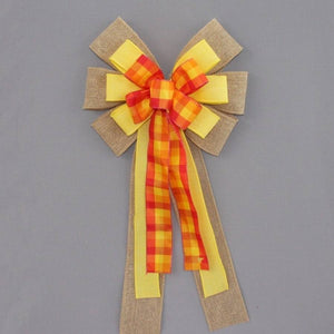 Sunny Plaid Burlap Wreath Bow - Package Perfect Bows