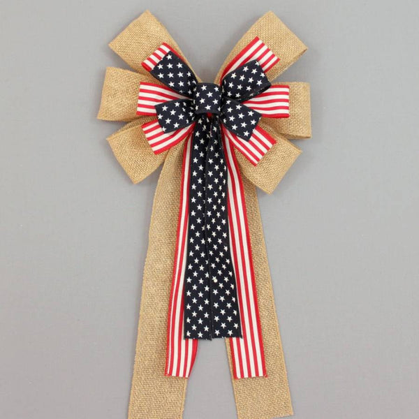 Burlap Stars Stripes Patriotic Wreath Bow - Package Perfect Bows - 1