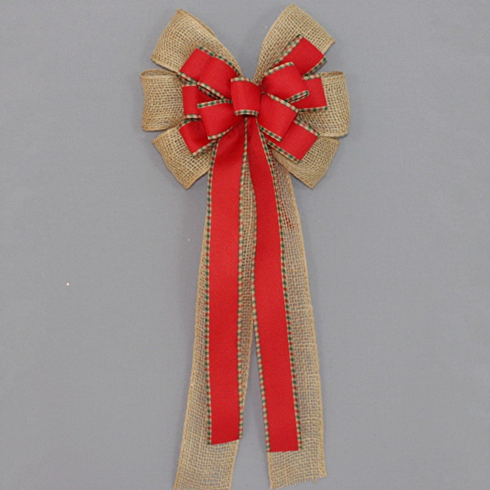 Burlap Red Woven Plaid Christmas Bow - Package Perfect Bows - 2