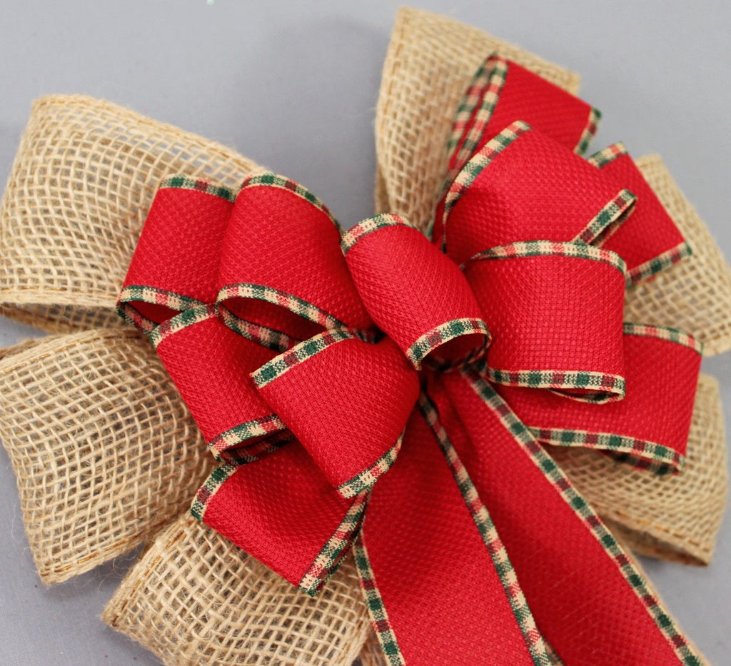 Burlap Red Woven Plaid Christmas Bow - Package Perfect Bows - 3