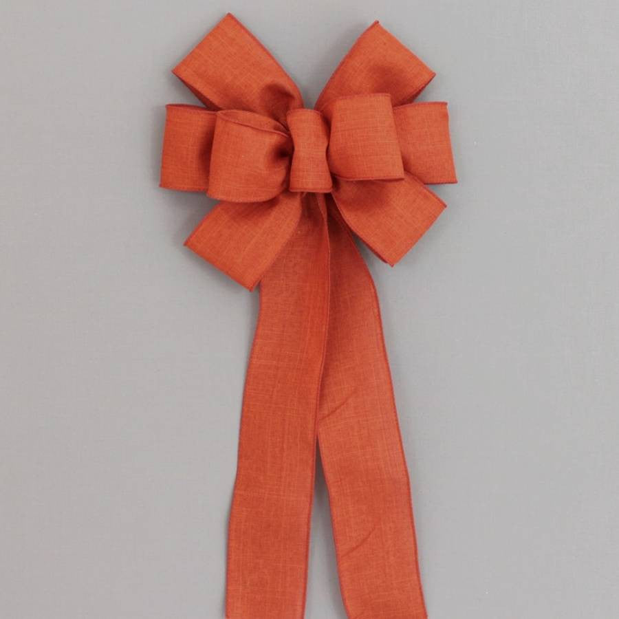 Burnt Orange Rustic Linen Burlap Bow - Package Perfect Bows